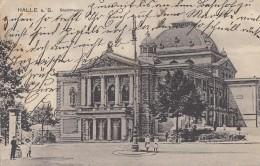 AK Halle A./S. Stadttheater S/w Gelaufen 26.5.16 - Halle (Saale)