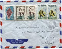 COTE FRANCAISE DES SOMALIS LETTRE PAR AVION DEPART DJIBOUTI 5-3-1962 POUR LA FRANCE - Côte Française Des Somalis (1894-1967)