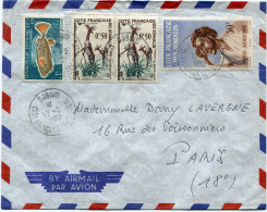 COTE FRANCAISE DES SOMALIS LETTRE PAR AVION DEPART DJIBOUTI 12-2-1962 POUR LA FRANCE - Lettres & Documents