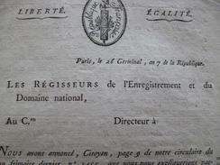 Révolution 26 Germinal An 7 Circulaire Sur Les Tabacs Commerce Signé Beauvallon - Décrets & Lois