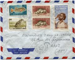 COTE FRANCAISE DES SOMALIS LETTRE PAR AVION DEPART DJIBOUTI 26-2-1962 POUR LA FRANCE - Côte Française Des Somalis (1894-1967)