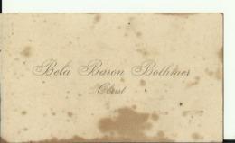 AUSTRIA, HUNGARY  --  BELA BARON BATHMER   --  OBERST     ----   COMMANDER OF THE 8th HONVED HUSSARS REGIMENT - Visitenkarten