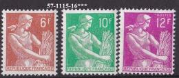 FRANCE ANNEE  1957 N°1115/1116 NEUF*** - France