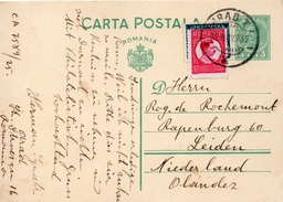 Roumanie Entier Postal Pour Les Pays Bas 1932 - Paquetes Postales