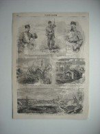 GRAVURE 1859. GUERRE D'ITALIE; TYPES ARMEE DE GARIBALDI. GORGONZOLA. A CASSANO, PASSAGE DE L'ADDA PAR ARMEE FRANCAISE... - Stampe & Incisioni