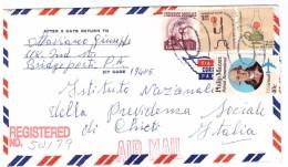STORIA POSTALE - USA - ANNO 1982 - REGISTERED MAIL N° 50179 - INPS - CHIETI - ITALIA - DA OTTAVIANO GIUSEPPE-BRIDGEPORTI - America Centrale