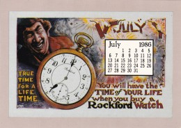 Advertising Calendar Card July Rockford Watches - Pubblicitari