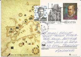 Carta De Mateo Prunes (Carta Mediterranea Y Europa 1563), Entier Postal Adressé ANDORRA, Avec Timbre à Date Arrivée - 1931-....