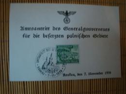 Propagandakarte, Amtsantritt Des Generalgouverneursmfür Die Besetzten Polnischen Gebiete, Mit Sonderstempel - Weltkrieg 1939-45