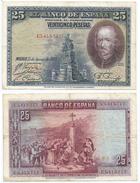 España - Spain 25 Pesetas 1928 Pick 74.c Ref 670-3 - 1-2-5-25 Pesetas