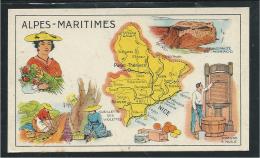 Alpes Maritimes Département Carte Géographique Chromo (récompense) 100x60mm Pub: Huile Salver Au Dos TB Didactique - Otros
