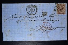 Belgium Letter OPB Nr 19b  3 Mi Nr 16, Cancel Nr 12 Antwerp To Belfast Northern Ireland   Boxed PD In Black - Postmarks - Points