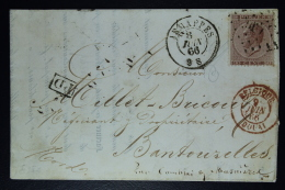 Belgium Letter OPB Nr 19,  Mi Nr 16, Cancel Nr 196 Jemappes  To Bantouzelle F  Boxed PD In Black Belg. Red - Postmarks - Points