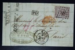 Belgium Letter OPB Nr 19a,  Mi Nr 16, Cancel Nr 141 Gent  To Paris 1867  PD In Black - Postmarks - Points