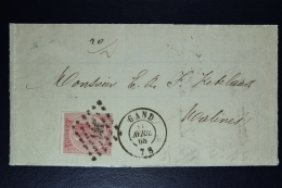 Belgium Letter OPB Nr 20,  Mi Nr 17, Cancel Nr 141 Gent  To Malines  1868 City Cancel On Back - Postmarks - Points