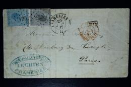 Belgium Letter OPB Nr 17+18,  Mi Nr 14+15, Cancel Nr 135  FRAMERIE  RR To Paris 1867  City Cancel On Back - Poststempels/ Marcofilie