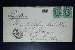 Belgium Letter OPB Nr 30c 2 X , Brussels To Deventer PD  Brussel Par Hollande 1871 - Postmarks - Points