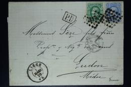 Belgium Letter OPB Nr 30 + 31 Mix Franking Luik/Liege To France, Backside Cancel MACAU Wrongly Send? - Postmarks - Points
