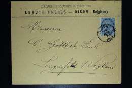Belgium Letter OPB Nr 40a Dark Blue  Dison To Lengenfeld 1885  (cat Value On Letter 350 Euro) - 1883 Léopold II