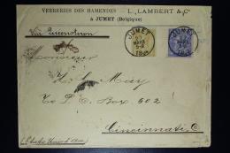 Belgium  Letter OPB Nr 50 + 48  Jumet To Cincinanati USA 1894