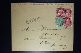 Belgium Letter  OPB Nr 74  Express Bruxelles Local Octagonal Cancel 1909 - 1905 Grosse Barbe