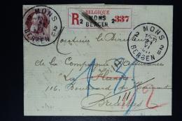 Belgium Registered Letter  OPB Nr 77 Mons Bergen To Bruxelles 1911 - 1905 Grosse Barbe