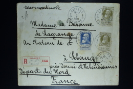 Belgium Registered Letter  OPB Nr 76 + 2*75 From Ixelles To Sebourg F 1911   Waxseal - 1905 Grosse Barbe