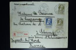 Belgium Registered Letter  OPB Nr 76 + 2*75 From Ixelles To Sebourg F 1911   Waxseal - 1905 Grove Baard