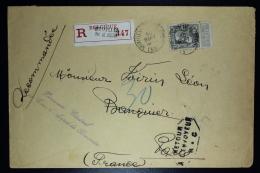 Belgium Registered Letter  OPB Nr 78a Dark Grey  Pal. De Justice Bruxelles To Paris And Returned Incomplet Address 1908 - 1905 Grosse Barbe