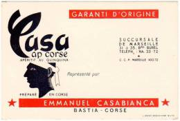 Carte Commerciale: Casa, Cap Corse, Apéritif Au Quinquina, Emmanuel Casabianca, Bastia ( Casanis, Tête De Maure )(VP) - Publicités
