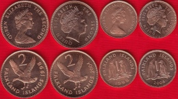 Falkland Islands Set Of 4 Coins: 1 - 2 Pence 1998-2004 UNC - Falkland