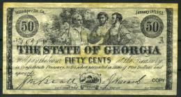 """50¢ Georgia 1863 - Confederate Paper Coins  """"REPLICA"""" - Confederate Currency (1861-1864)"""