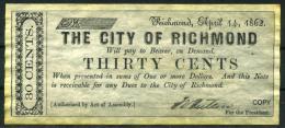 "30¢ Virginia 1862 - Confederate Paper Coins  ""REPLICA"" - Confederate Currency (1861-1864)"