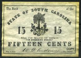 """15¢ South Carolina 1863 - Confederate Paper Coins  """"REPLICA"""" - Confederate Currency (1861-1864)"""