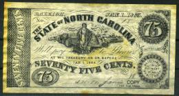 """75¢ North Carolina 1863 - Confederate Paper Coins  """"REPLICA"""" - Confederate Currency (1861-1864)"""