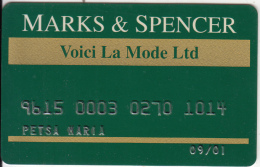 CYPRUS - Marks & Spencer, Bank Of Cyprus Credit Card, Used - Cartes De Crédit (expiration Min. 10 Ans)