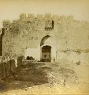 Israel Palestine Jerusalem Porte Des Lions Josaphat Saint Etienne Ancienne Photo Stereo 1875 - Photos Stéréoscopiques