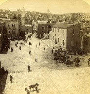 Palestine Cisjordanie Bethléem Rue Animee Ancienne Photo Stereo Jarvis Underwood 1896 - Stereoscopic