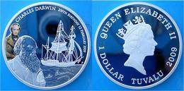 TUVALU 1 $ 2009 ARGENTO PROOF SILVER 999 CHARLES DARWIN DISCOVERY BICENTENNNIAL SHIP VELIERO PESO 31,1g TITOLO 0,999 CON - Tuvalu