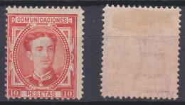 SPAIN 1876 King Alfonso XII 10 Pta Vermilion Mint * 230 (Mi.164) - Nuovi