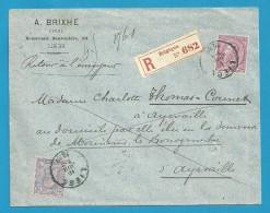 """46+48 Op Brief Aangetekend Met Stempel LIEGE Naar AYWAILLE, Geschreven """"Retour + Destinatair Partie Pour L'Amerique ... - 1884-1891 Leopold II"""