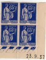 507 -   N°  365  **  65c  Outremer  Type Paix   Du 23.9.37  Date Décalée  Cote 7.20 €  SUP  . - Coins Datés