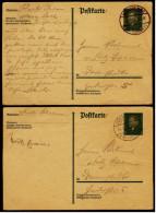2 X Deutsches Reich Ganzsache / Postkarte  -  8 Pf Friedrich Ebert  -  1929 Gestempelt - Deutschland