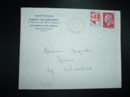 LETTRE TP MARIANNE DE CHEFFER 0,40+AUCH 0,05 OBL.MEC.12-1-1971 GOURNAY EN BRAY(76 SEINE-MARITIME) INSTITUTION ST-HILDEVE - Marcophilie (Lettres)