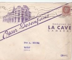 PETAIN 1F50 SUR ENV ILLUSTREE OSCAR DESENFANS MAGASIND DE LA CAVE CAMBRAI 24/3/42 POUR BAVAY                    TDA149 - Marcofilie (Brieven)
