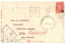 (234) Australia To Trobian Island Papua New Guinea - 1942 - Return To Sender - Military Censor Postmarks - - Militaria
