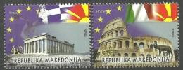 Macedonia 2014 In European Union, Europa, Greece, Athens, Parthenon, Italy, Rome, Colosseum, Flags, Set MNH - Macedonia