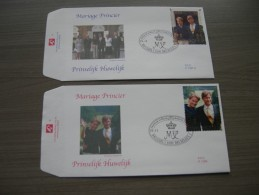BELG.1999 2856 & 2857 FDC (Brus/Brux) : Mariage Princier - Philippe Et Mathilde D'Udekem - FDC