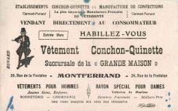 """VÊTEMENTS """" CONCHON-QUINETTE"""" MONTFERRAND (PUY DE DÔME) 26, RUE FONTAINE  - BUVARD ILLUSTRE ANCIEN. - Textile & Clothing"""