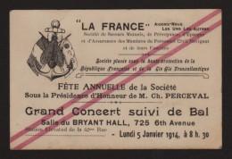 """Compagnie Générale Transatlantique -- Grd Concert """"LA FRANCE"""" Fête Annuelle_ Salle Du BRYANT Hall, 725 6th Avenue _ 1914 - Vieux Papiers"""
